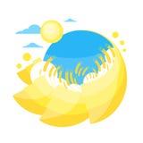 Campo dorato giallo di Sun di estate del grano del cielo blu illustrazione vettoriale