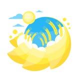 Campo dorato giallo di Sun di estate del grano del cielo blu royalty illustrazione gratis