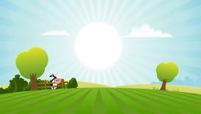 Campo dos desenhos animados com vaca de leiteria Imagens de Stock Royalty Free