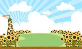 Campo dos girassóis ilustração do vetor