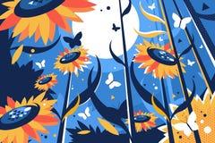 Campo dos girassóis no dia ensolarado ilustração royalty free