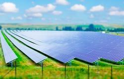Campo dos painéis solares Fotografia de Stock