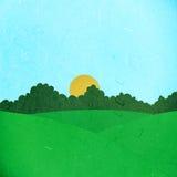 Campo e árvores verdes cortados do papel de arroz Foto de Stock