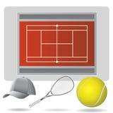 Campo e acessórios do tênis Imagem de Stock