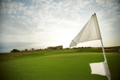 Campo e bandiera verdi sul campo da golf Fotografia Stock