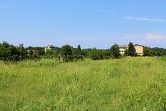 Campo e casas verdes na distância Foto de Stock