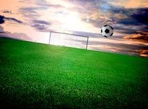 Campo e céu de futebol Fotografia de Stock