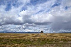 Campo e equipamento da agricultura sob céus da tempestade fotografia de stock royalty free