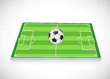 Campo e esfera de futebol Projeto da ilustração Fotografia de Stock Royalty Free