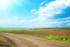 Campo e estrada Fotografia de Stock