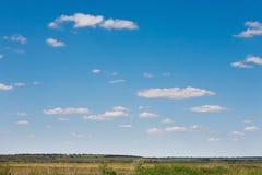 Campo e fondo rurale del cielo blu nuvoloso Fotografia Stock Libera da Diritti