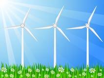 Campo e gerador de vento gramíneos Imagens de Stock