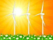 Campo e geradores de vento gramíneos Imagem de Stock Royalty Free