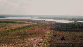 Campo e lago da un'altezza stock footage