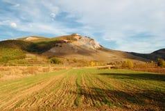 Campo e montanhas da colheita fotos de stock