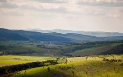 Campo e montanhas verdes Imagens de Stock