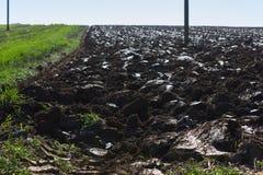 campo ed acro raccolti accanto ai pali di telegrafo su un autum soleggiato Fotografie Stock