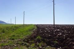 campo ed acro raccolti accanto ai pali di telegrafo su un autum soleggiato Fotografia Stock Libera da Diritti