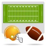 Campo ed oggetto di football americano Fotografie Stock Libere da Diritti