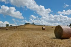 Campo empacotado do feno no Chianti, Toscânia fotografia de stock royalty free