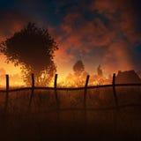 Campo en la puesta del sol ardiente Fotografía de archivo libre de regalías