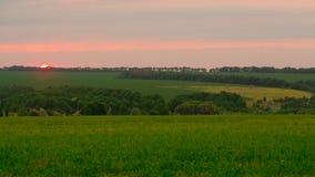 Campo en tiempo de la puesta del sol Fotos de archivo