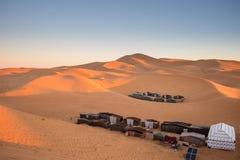 Campo entoldado, Merzouga, Marruecos Imagen de archivo libre de regalías