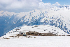 Campo, ghiaccio, neve e montagna dell'alpinista Fotografie Stock Libere da Diritti