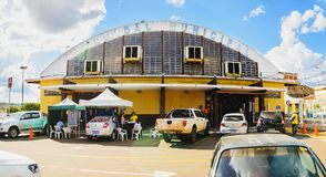 Outdoors of the popular market called Mercadao Municipal. Campo Grande, Brazil - April 12, 2018: Outdoors of the popular market called Mercadao Municipal stock image
