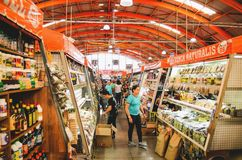 Indoors of the popular market called Mercadao Municipal. Campo Grande, Brazil - April 12, 2018: Popular market called Mercadao Municipal. A market that has many royalty free stock image