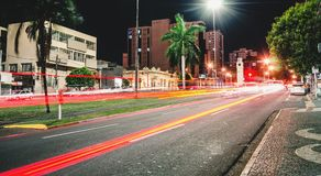 The Afonso Pena avenue at night, Campo Grande - MS, Brazil. Campo Grande, Brazil - August 21, 2018: The Afonso Pena avenue at night, the main avenue of the city stock images