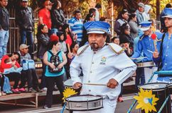 Band from APAE parading at the celebration of the 119 years of. Campo Grande, Brazil - August 26, 2018: Civic Parade desfile civico at 13 de Maio street. Band stock photo