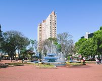 The fountain of the Ary Coelho square at Campo Grande MS, Brazil. Campo Grande, Brazil - August 26, 2018: The fountain of the Ary Coelho square, water fountain royalty free stock photos