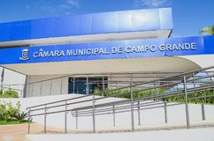 Camara Municipal de Campo Grande. Campo Grande, Brazil - Junho 25, 2018: New blue facade of the front of the Camara Municipal de Campo Grande. Legislative body Stock Photo
