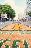 Holiday event of Corpus Christi in Campo Grande MS. Campo Grande, Brazil - May 31, 2018: Holiday event of Corpus Christi at the 14 de Julho street. People Royalty Free Stock Photo