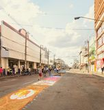 Holiday event of Corpus Christi in Campo Grande MS. Campo Grande, Brazil - May 31, 2018: Holiday event of Corpus Christi at the 14 de Julho street. People Royalty Free Stock Image