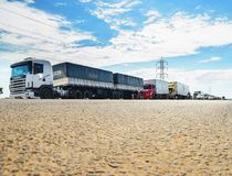 Stopped trucks on the highways for protest the diesel price incr. Campo Grande, Brazil - May 24, 2018: Stopped trucks on the highways for protest the diesel Royalty Free Stock Photography