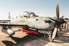 Embraer EMB-314 Super Tucano A-29A. Campo Grande, Brazil - September 09, 2018: Airplane at the Brazilian military air base, Portoes Abertos Ala 5 event. Airplane royalty free stock photo