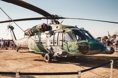 Brazilian airforce helicopter. Campo Grande, Brazil - September 09, 2018: Brazilian airforce helicopter exposed at the military air base Portoes Abertos Ala 5 royalty free stock images