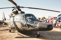 Brazilian army helicopter. Campo Grande, Brazil - September 09, 2018: Brazilian army helicopter at the military air base Portoes Abertos Ala 5. Event open to the stock images