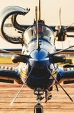 Front view of the Esquadrilha da Fumaca airplane FAB landed at. Campo Grande, Brazil - September 09, 2018: Front view of the Esquadrilha da Fumaca airplane FAB stock photography