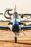 Front view of the Esquadrilha da Fumaca airplane FAB landed at. Campo Grande, Brazil - September 09, 2018: Front view of the Esquadrilha da Fumaca airplane FAB stock image