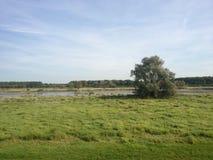 Campo herboso plano con un río Fotografía de archivo