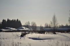 Campo idílico do inverno Foto de Stock Royalty Free