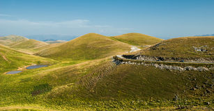 Campo Imperatore. Is an alpine meadow located in centre-south Italy at the bottom of Gran Sasso chain. The location was used for several films stock photo