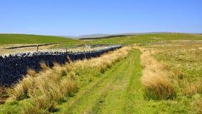 Campo inglés: colina, rastro, senda para peatones, paseo Imágenes de archivo libres de regalías