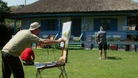Campo internacional de la pintura en el delta de Danubio almacen de video