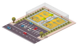 Campo isometrico di pallacanestro di vettore Fotografie Stock Libere da Diritti