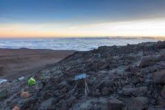 Campo Kilimanjaro di Barafu Immagine Stock