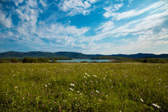 Campo, lago y montañas verdes Foto de archivo libre de regalías